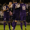 Tyler Turner (2), Brad Rusin (3) and Dennis Chin (15) - Orlando City Soccer celebrate scoring against OC Blues, Orlando, Florida - 11 June 2014 (Photographer: Nigel Worrall)