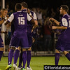Tyler Turner (2), Brad Rusin (3) Dennis Chin (15) & Aodhan Quinn (16) - Orlando City Soccer celebrate scoring against OC Blues, Orlando, Florida - 11 June 2014 (Photographer: Nigel Worrall)